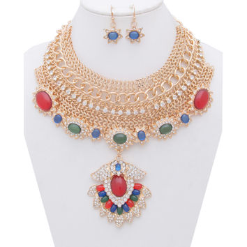 Alexandria Multi-Chain Gem Stone and Rhinestones Choker Statement Necklace and Earrings Set