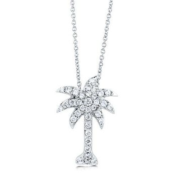Sterling Silver Palm Tree Pendant Necklace in Cubic Zirconia CZ #n848
