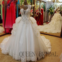 Organza ruffle  bling beading long train wedding dress crystal ball gown beaded bridal wedding gowns dress bride XD40