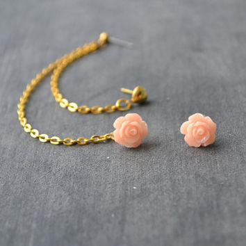 Blush Rosette and Heart Multiple Pierce Gold Cartilage Earrings (Pair)