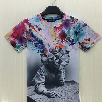 Colorful Geometric All Over Shirt Hip Hop Urban Swag Sublimation All Over Print Shirt Tee Shirt Graphic Tee Gift Idea Free Shipping USA