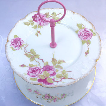 Two tier vintage cake stand, dessert, cupcakes, candy, jewelry stand or centerpiece