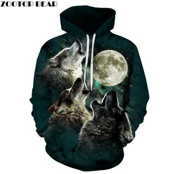 Wolf Pritned Men Women Hoodies 3D Hooded Sweatshirts Autumn Spring Pullover Fashion Tracksuits