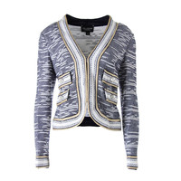 St. John Womens Textured Metallic Trim Cardigan Sweater
