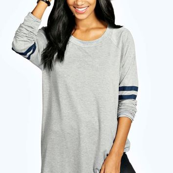 Katie Long Sleeve Base Ball Tunic | Boohoo