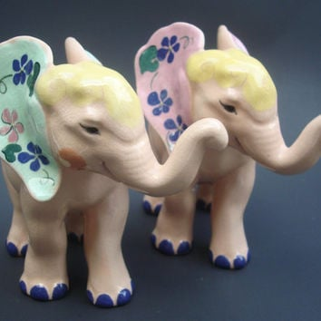 Pair of Kay Finch Pottery Pink Elephant Figurines