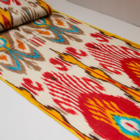 ikat, table runner, ikat table cloth, ikat fabric by the yard, ikat fabric, red ikat, red, turquoise, brown, white hand woven, ikat curtain