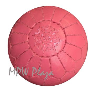 Stuffed Pouf Pink Moroccan Leather