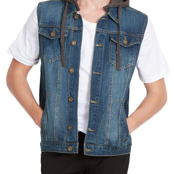 LE3NO Mens Premium Denim Vest with Detachable Hoodie
