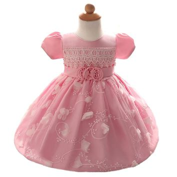 Spring Baby girl party dresses pink flower newborn baby girls clothes vestido bebe menina Christening Gown wedding roupa de bebe