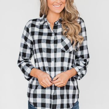 Plaid With The Fur Top- White & Black