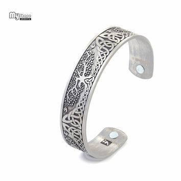 My Shape Silver Plated Magnetic Bracelets Bangles for Women Viking Cuff Bangle Bracelet Men Life Tree Engraved Jewelry