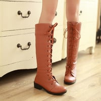Lace Up Knee High Boots Chunky Low Heels 3496