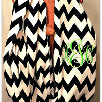 Personalized infinity scarf black and white chevron  zig zag Monogrammed Cowl Scarf -- Circle Scarf