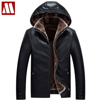 Men's Fur Hooded Winter leather jacket