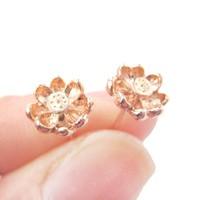 3D Floral Flower Shaped Stud Earrings in Rose Gold with Textured Detail | DOTOLY
