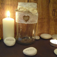 Vintage / Shabby Chic style tealight candle holder, Recycled / Upcycled glass & lace
