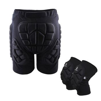 WOSAWE 2 in 1Ski Protective Hip Pad Padded Shorts+Protective Knee Pads Skiing Skating Snowboarding Impact Protection