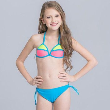 DCCK7N3 Patchwork Swimsuit for Girls Two Piece Children Swimwear 2017 Candy Colorful Kids Bikini for 3-16 Years Child Bathing Suit Beach