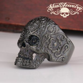 Matte Black Vintage Black Eyes Flower Skull Ring Stainless Steel (500)