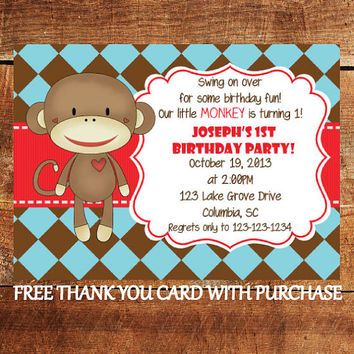 Shop monkey birthday party invitations on wanelo monkey first birthday invitation sock monkey birthday party in filmwisefo