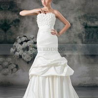 Strapless Satin Mermaid Bridal Gown with Rosette