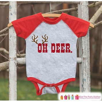 Kids Funny Christmas Shirt - Oh Deer. Antlers Shirt or Onepiece - Kids Holiday Reindeer Outfit for Girl or Boys, Baby, Toddler, Youth