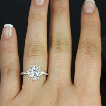 Bridgette 14kt Rose Gold Oval FB Moissanite and Diamonds Halo Engagement Ring (Other metals and stone options available)