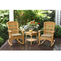 3 Piece Outdoor Porch Rocker Set with 2 Amber Wicker Resin Rocking Chairs & Table