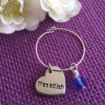 Personalized Wine Glass Charms - Name Wine Glass charm - Hand Stamped Heart wine glass charm - Bridal Party Gift - Party Favor
