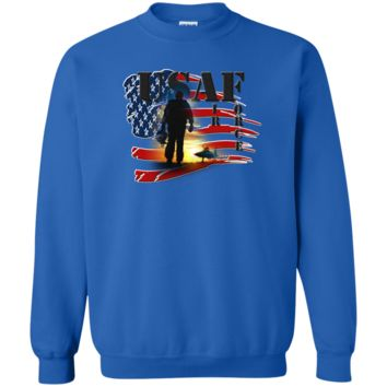 UNITED STATES AIR FORCE : SILHOUETTE : G180 Gildan Crewneck Pullover Sweatshirt  8 oz.