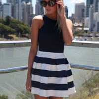 Black and White Striped Sleeveless Shirtwaist Mini Skater Dress