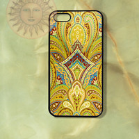 Yellow Paisleys iPhone 5, 5s, 5c, 4s, 4, ipod 4, 5, Samsung GS3, GS4 case-Silicone Rubber or Hard Plastic Case, Phone cover