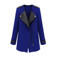 Royal Blue Faux Leather Patchwork Zipper Front Long Sleeve Trench Coat