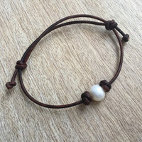 Freshwater Pearl Anklet, Adjustable Pearl Leather Anklet