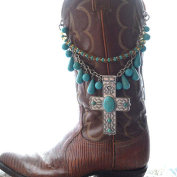 Cross necklace, Boho gypsy cowgirl turquoise style Statement necklace, Bohemian Festival Jewelry, Mexicali cross jewelry True rebel clothing