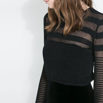 SHORT SWEATER WITH TRANSPARENT STRIPES - Knitwear - WOMAN | ZARA United States