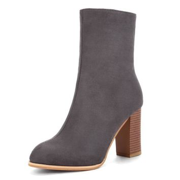 Winter Mid-Calf Boots Shoes Women Cow Suede Botas Mujer High Heel Boots Square Heel Zip Ladies Shoes