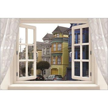 WINDOW into SAN FRANCISCO architecture poster HAIGHT ASHBURY 'HOOD 24X36 hip