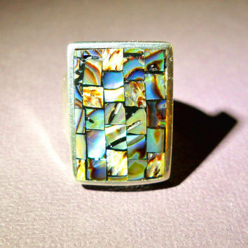 Vintage Sterling Mosaic Ring Abalone Rectangle 12.2 grams sz 6.5 - 7