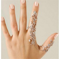 Full Rhinestone Flower Double Finger Rings
