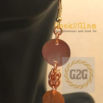 Copper Chain Maille and Copper Color Chinese Muscle Shell earrings chainmail jewelry