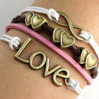 Antique bronze  love heart Pandora bead, Infinity bracelet, love bracelet, braid leather bracelet