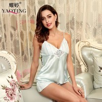 woman lace sleep lounge slip nightwear femme summer satin pajamas set female night wear silk sleepwear womens solid negligee
