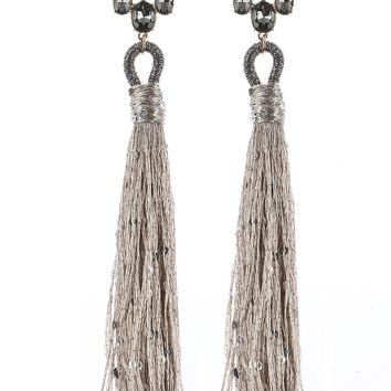 Brown Glass Stone Long Sequin Tassel Earring
