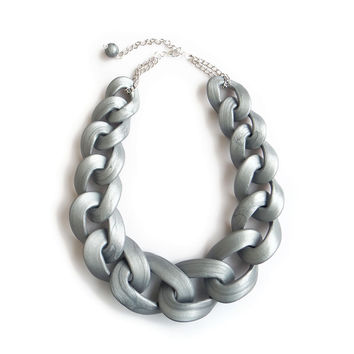 Silver chain link necklace, silver chain statement necklace
