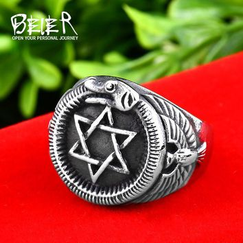 Hexagon Rings with snake Stainless Steel Unicursal Hexagram Fashion Jewelry Hexagrfeel Star of David Gamino Rings for ManBR8-572