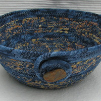 Blue and Gold Coiled Fabric Basket/Bowl, handmade