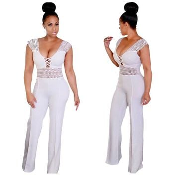 Elegant Wide Leg Jumpsuit Plus Size Rompers