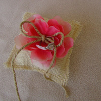 Small Ivory Burlap Ring Pillow with Pink Rose